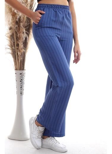 Cottonmood 20333459 Keten Çizgi Desenli Cepli Pantolon Hardal Lacivert